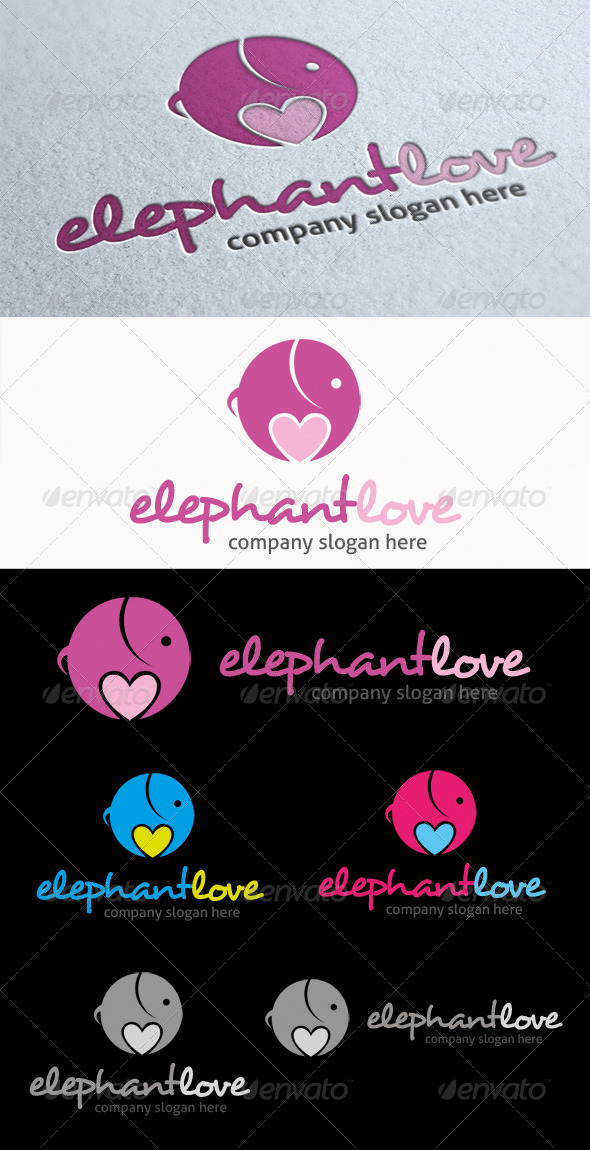 GraphicRiver Elephant Love Logo 6485652