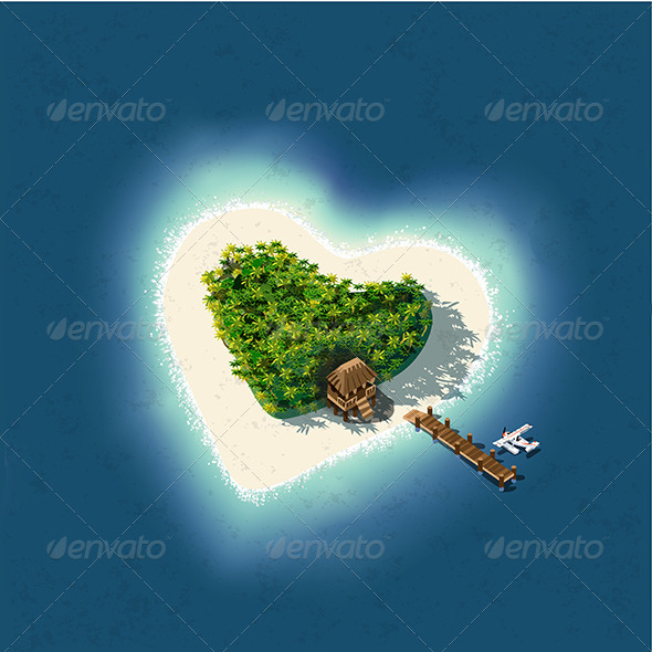 GraphicRiver Heart Shaped Tropical Island with Romantic Resort 6485902