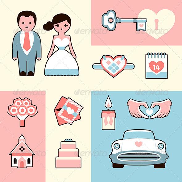 GraphicRiver Wedding Icons Flat Illustrations Set 6486139