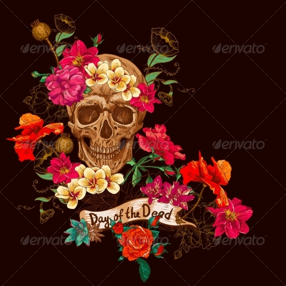 GraphicRiver Skull and Flowers Day of The Dead 6486793