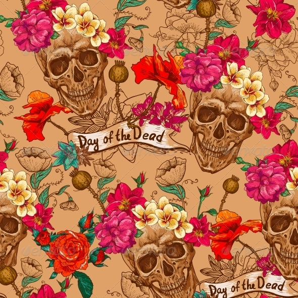 GraphicRiver Skull and Flowers Seamless Background 6486876