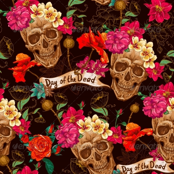 GraphicRiver Skull and Flowers Seamless Background 6486887