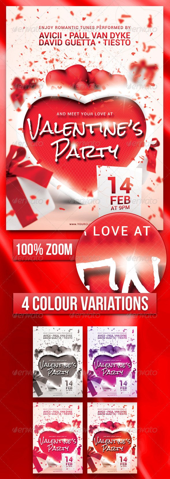 GraphicRiver A5 Valentine s Party Flyer Poster 5 in 1 6487117