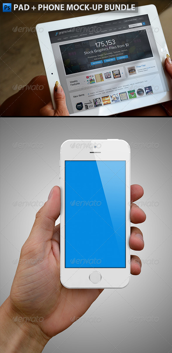 GraphicRiver White Pad and Phone Mock-up Bundle 6487389