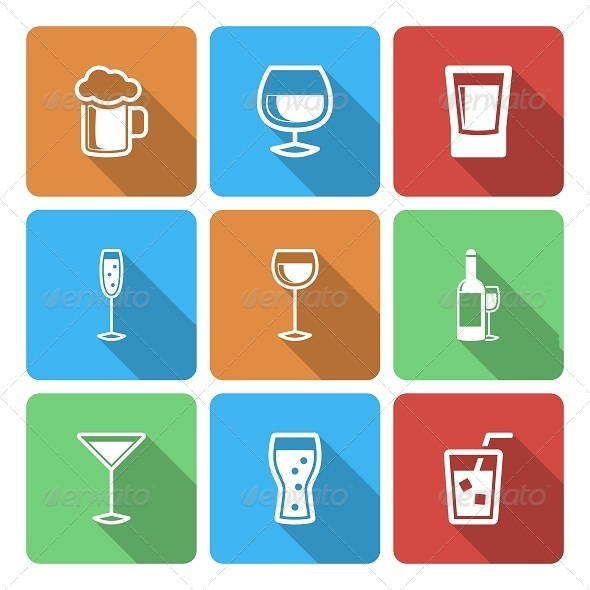 Drink Icons with Long Shadow