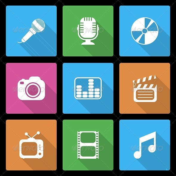 GraphicRiver Media Icons Set with Long Shadow 6488081