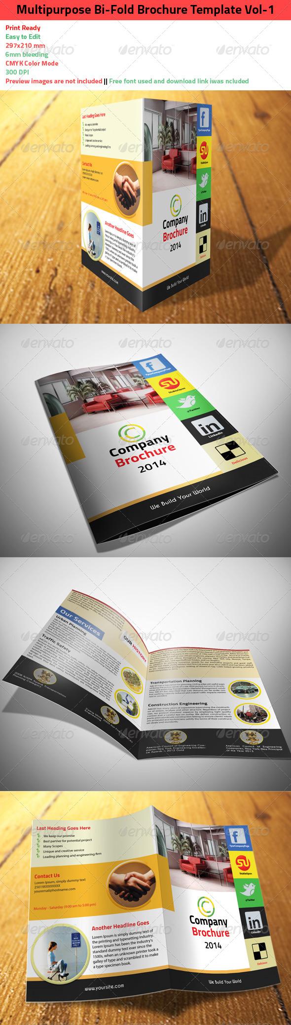 GraphicRiver Multipurpose Bi-Fold Brochure Template Vol-1 6488501