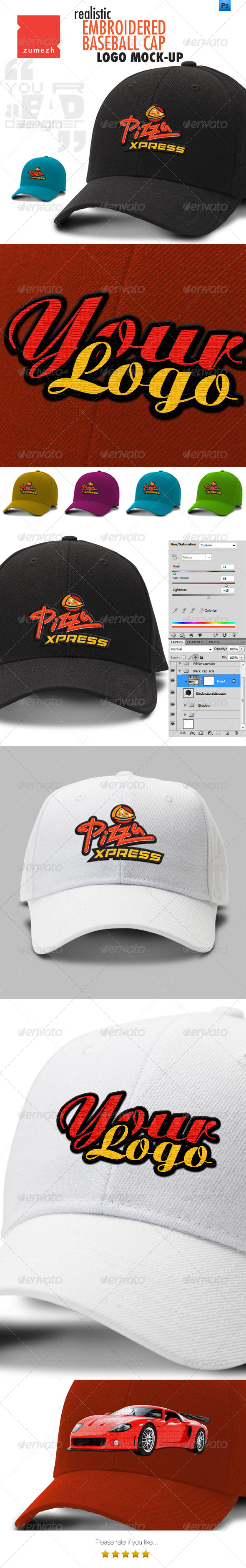 GraphicRiver Polo Cap Mock-up with Embroidered Logo 6489186