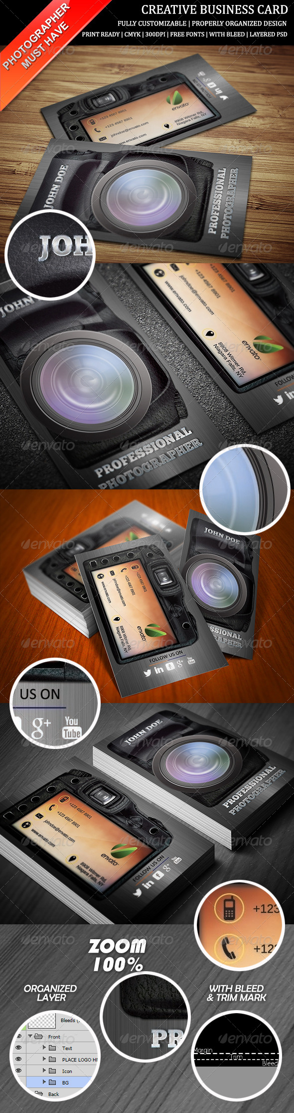 GraphicRiver Photography Creative Business Card 6489660