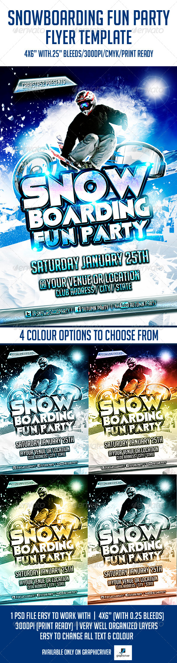 Snowboarding Fun Party Flyer Template