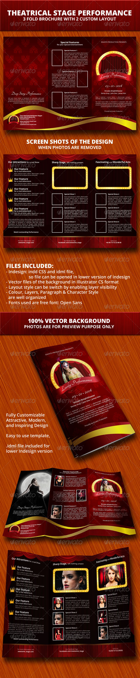 GraphicRiver Theaterical Stage Performance Trifold Brochure 6489920