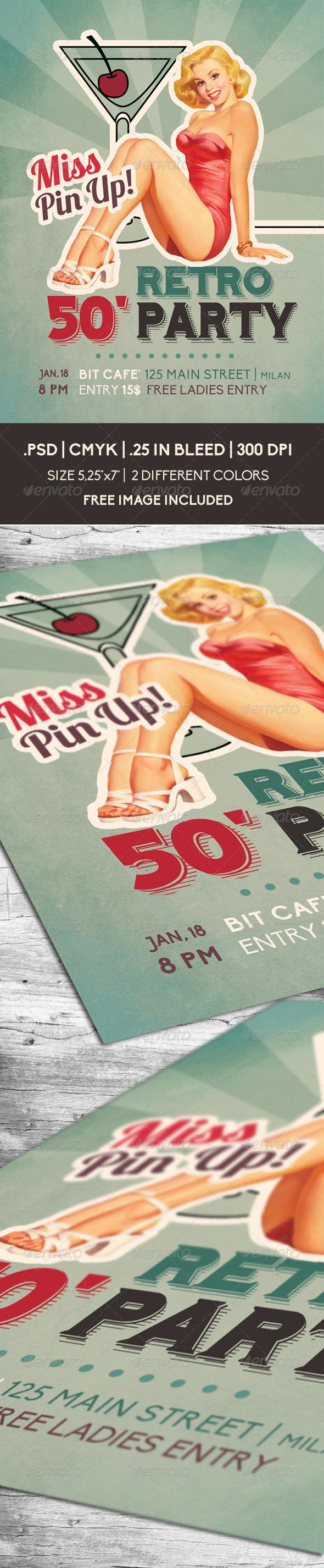 GraphicRiver Retro 50 Party Flyer 6490641
