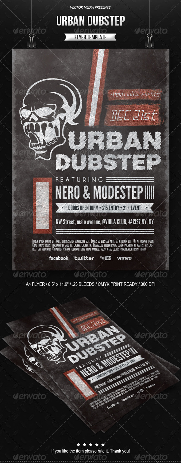 GraphicRiver Urban Dubstep Flyer 6490805