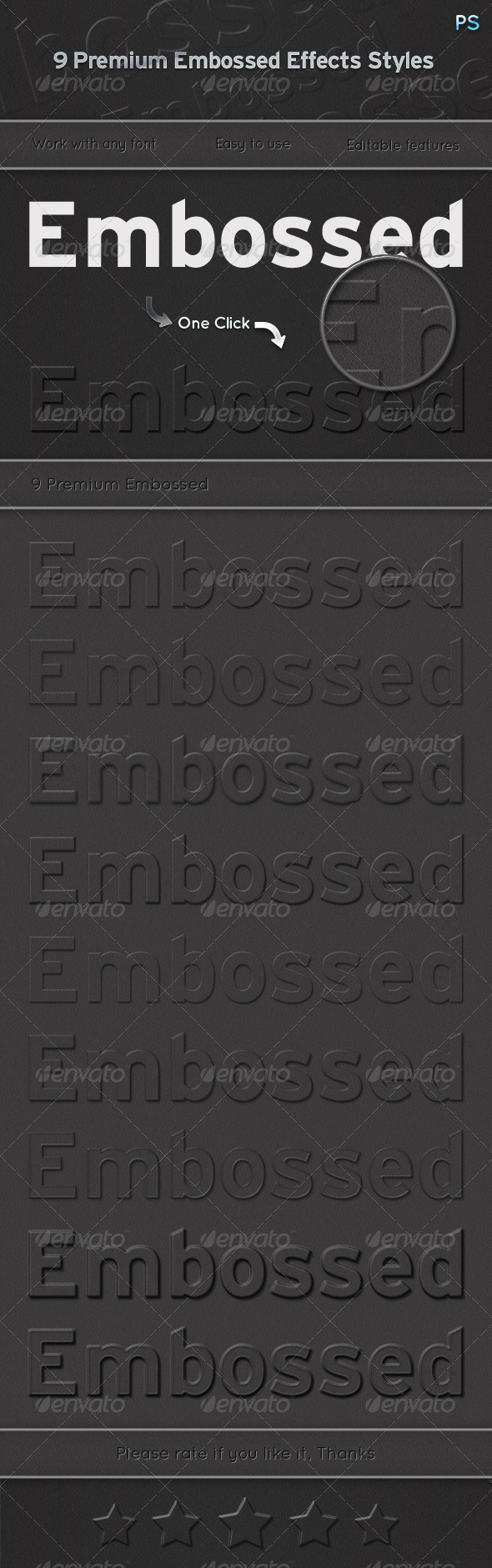 GraphicRiver 9 Premium Embossed Effects Styles 6492460