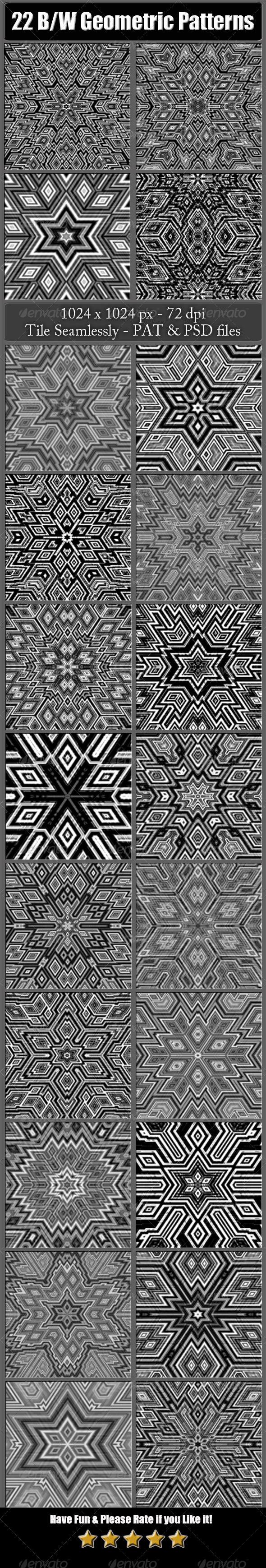 GraphicRiver 22 B&W Geometric Patterns 6492733
