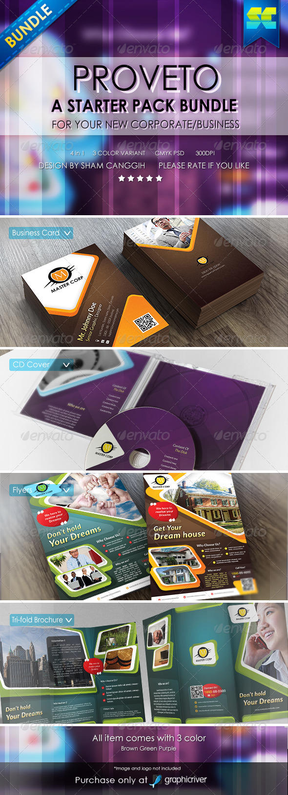 GraphicRiver Proveto Corporate Business Starter Pack Bundle 6492754