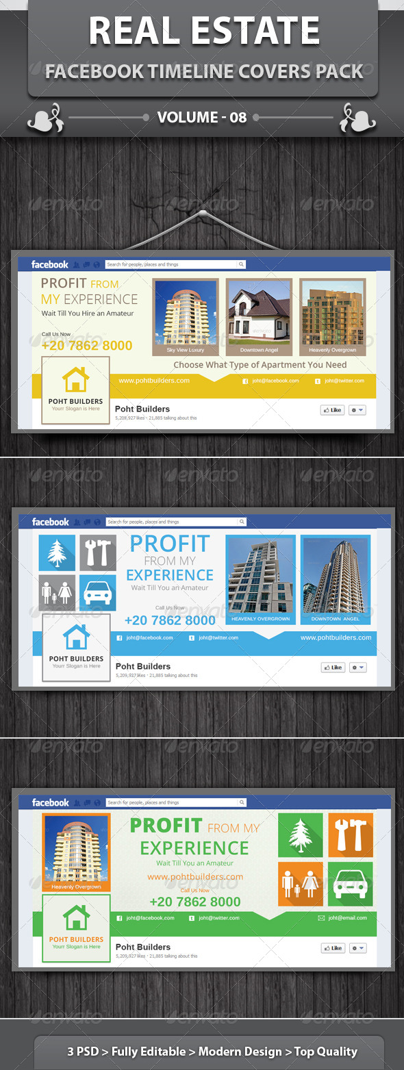 GraphicRiver Real Estate Business FB Timeline Covers Pack v8 6493369