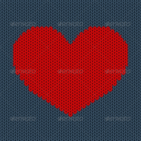 GraphicRiver Red Knitted Heart 6493392