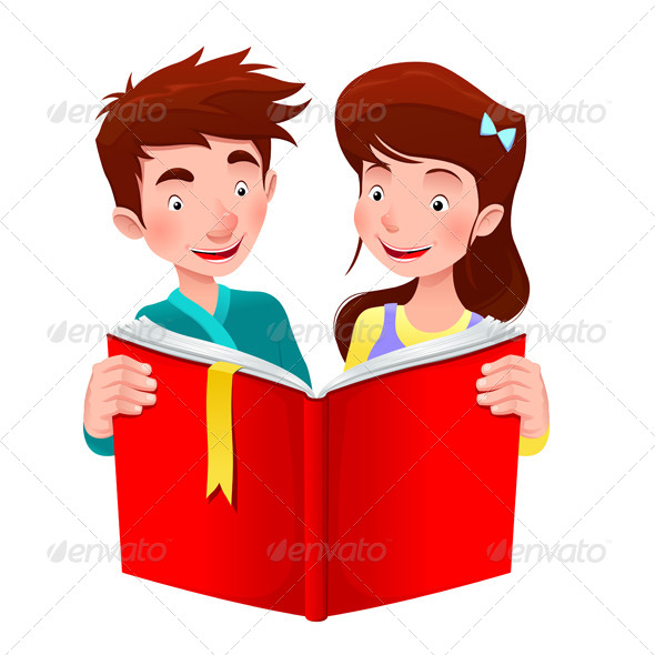 Cartoon Characters Reader : Boy and girl are reading a book graphicriver