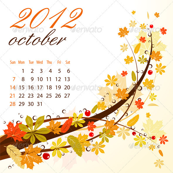 Calendar for 2012 October