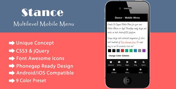 CodeCanyon Stance Multilevel Mobile Navigation Menu 6490113