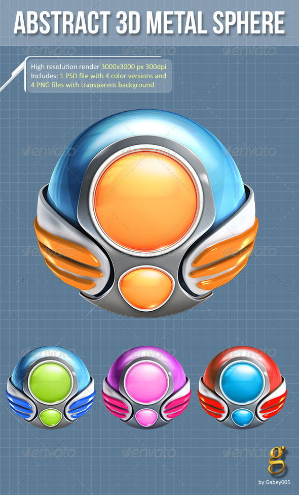 GraphicRiver Abstract 3D metal spheres 4 versions 6495121