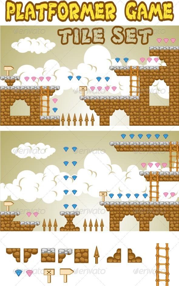 GraphicRiver Platformer Game Tile Set 6495233