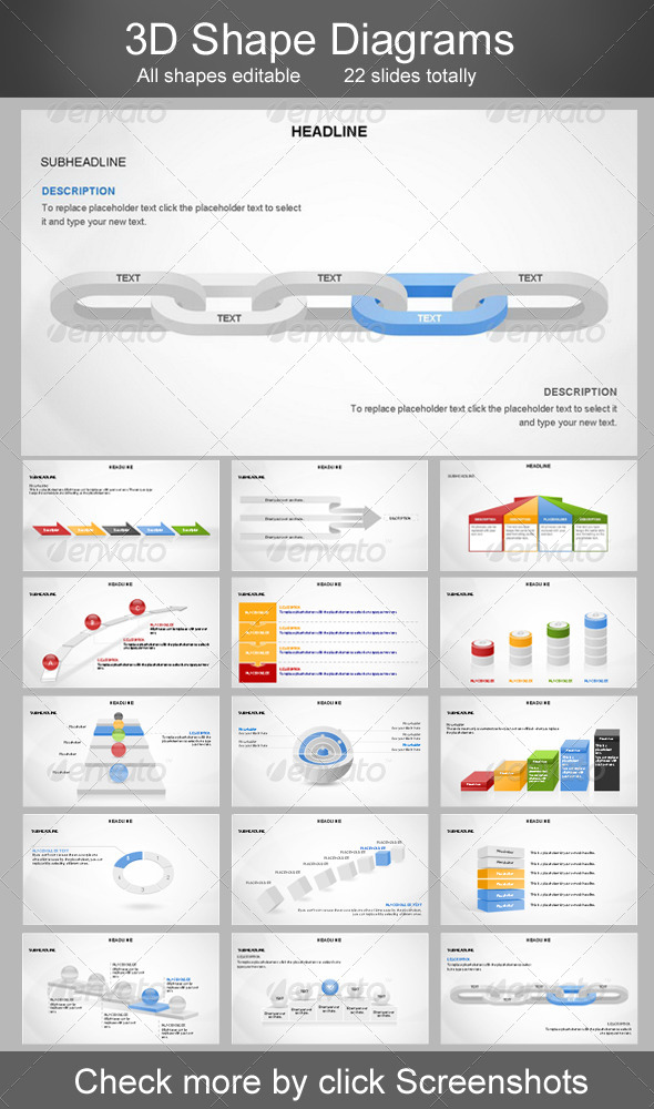 GraphicRiver 3D Shapes Diagram Template Bundle 6426822