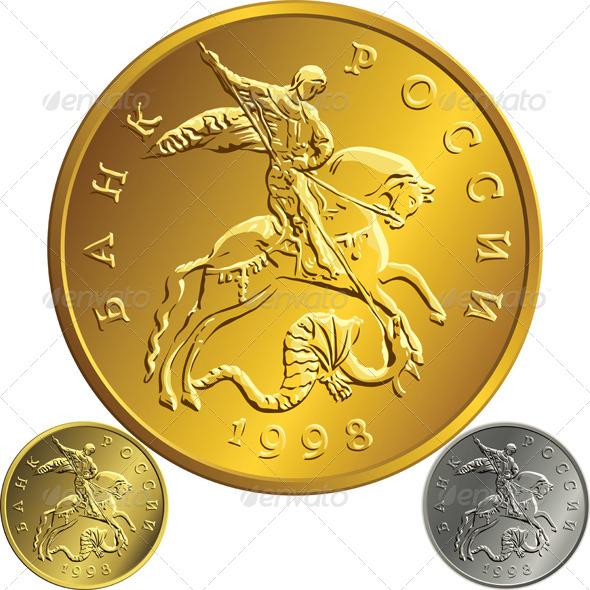 GraphicRiver Gold Russian Rubel Coin 6495791