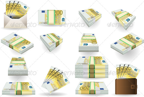 GraphicRiver Full Set of Two Hundred Euros Banknotes 6495834