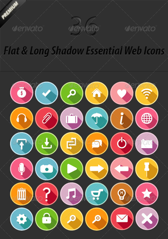 GraphicRiver 36 Flat and Long Shadow Web Icons 6495868