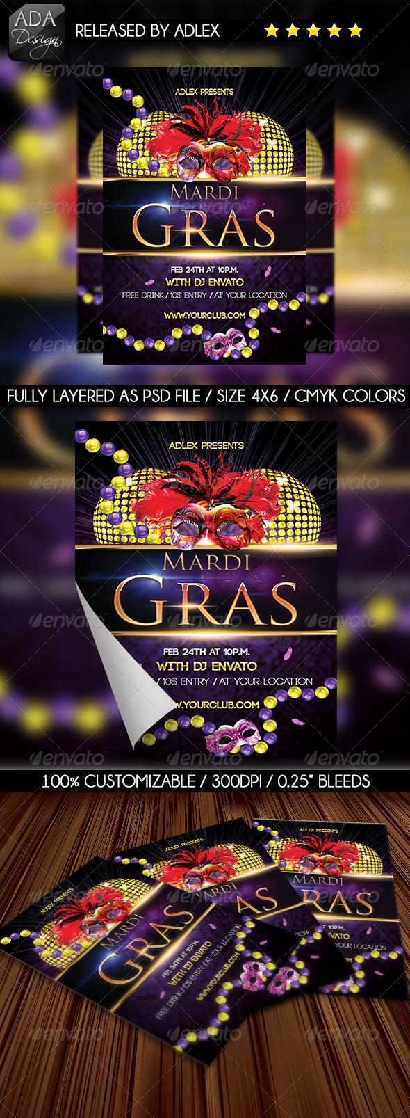 GraphicRiver Mardi Gras Carnival Masquerade Flyer 6495974