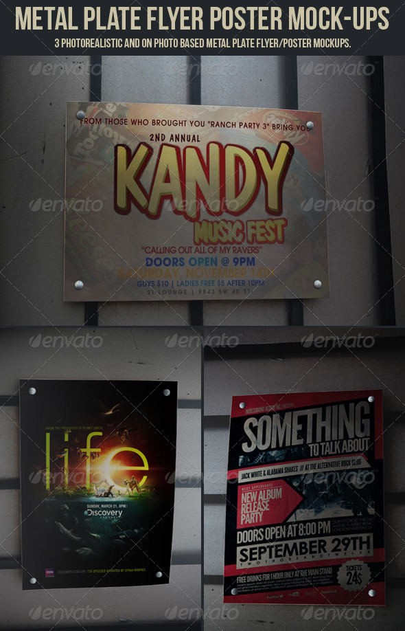 Metal Plate Flyer Poster Mock-Ups - Graphics