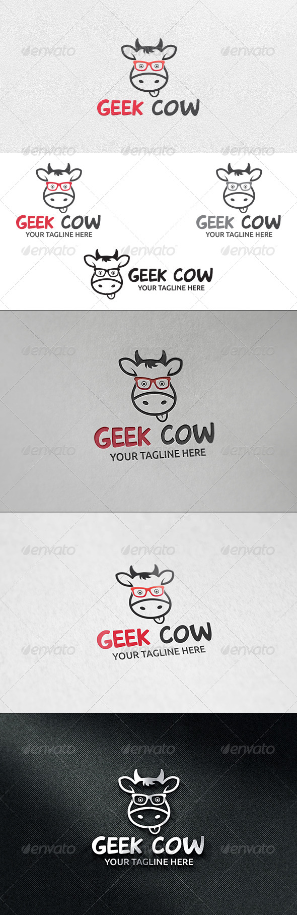 GraphicRiver Geek Cow Logo Template 6496294