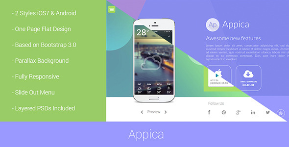 01 preview1.  large preview Appica   Responsive App Landing Pages (Creative)