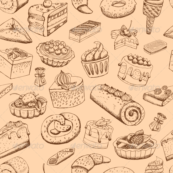 GraphicRiver Seamless Sweet Pastries 6498003