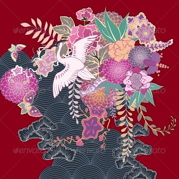 GraphicRiver Vintage Kimono Floral Motif 6498031