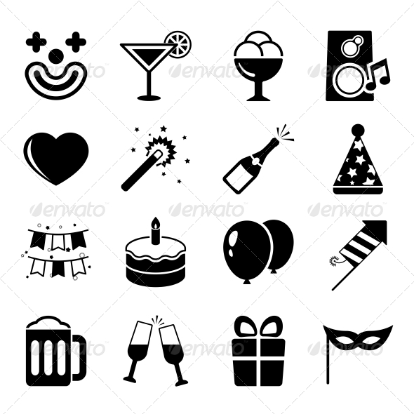 GraphicRiver Party Flat Icons Set 6498047