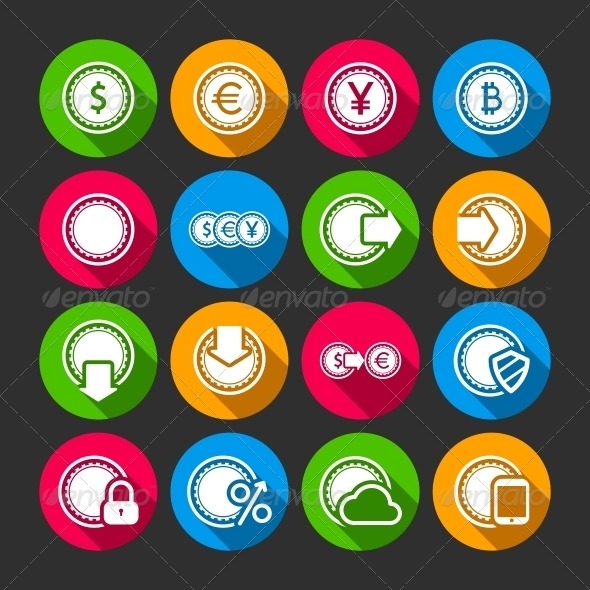 GraphicRiver Collection of Coins for Finance or Money App 6498055