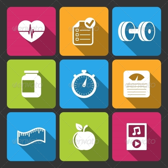 GraphicRiver Healthy Lifestyle Iconset for Fitness App 6498057