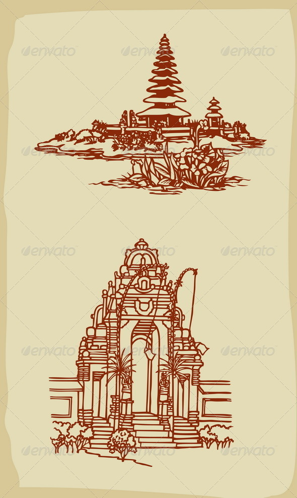 GraphicRiver Balinese Temple Illustrations Vintage Style 6500693