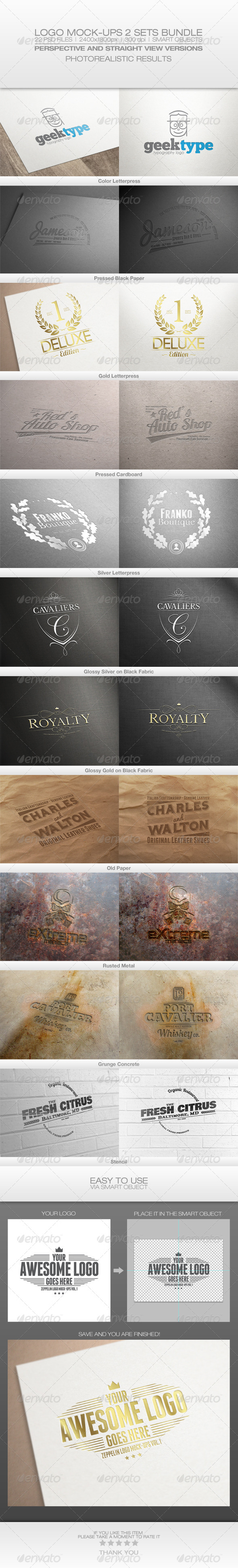 GraphicRiver Logo Mock-Ups 2 Sets Bundle 6501156