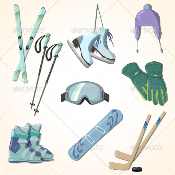 GraphicRiver Winter Sports Equipment Icons Collection 6501697