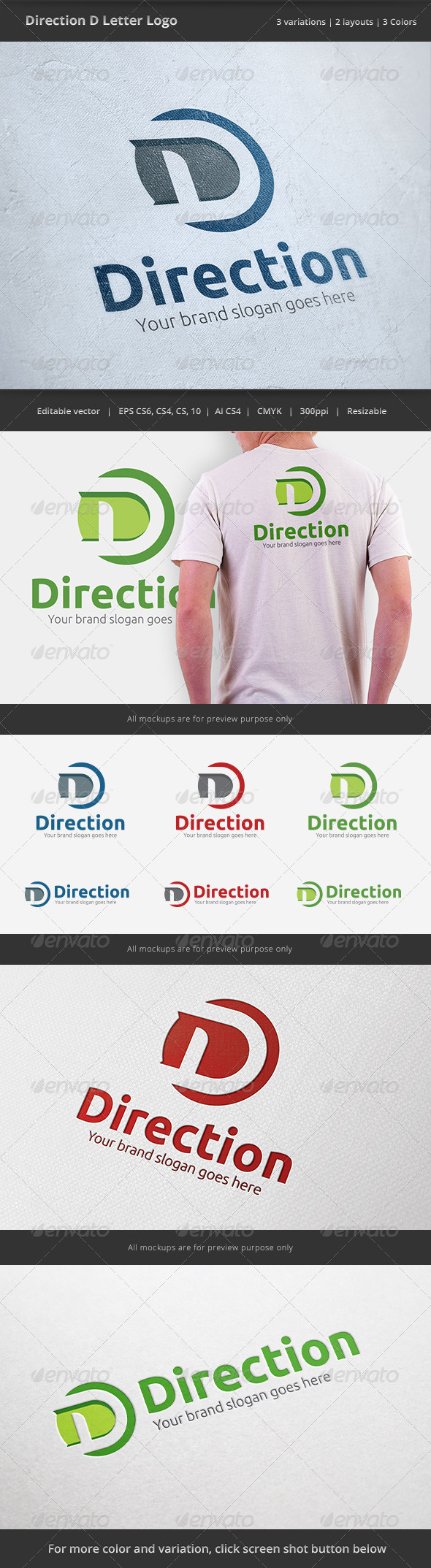 GraphicRiver Direction D Letter Logo 6502125