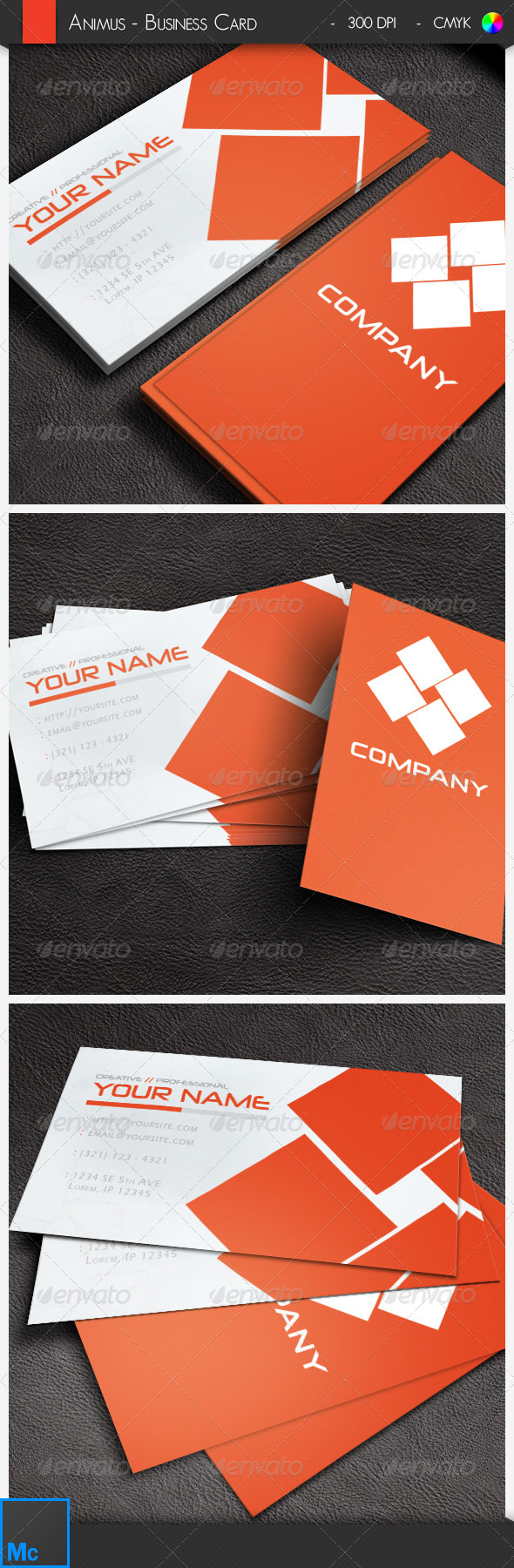 GraphicRiver White and Red Business Card 6448484