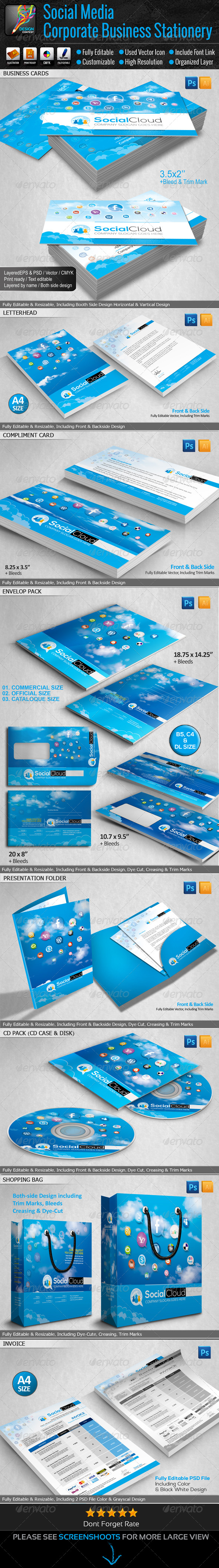 GraphicRiver Social Media Small Business Stationery 6469861