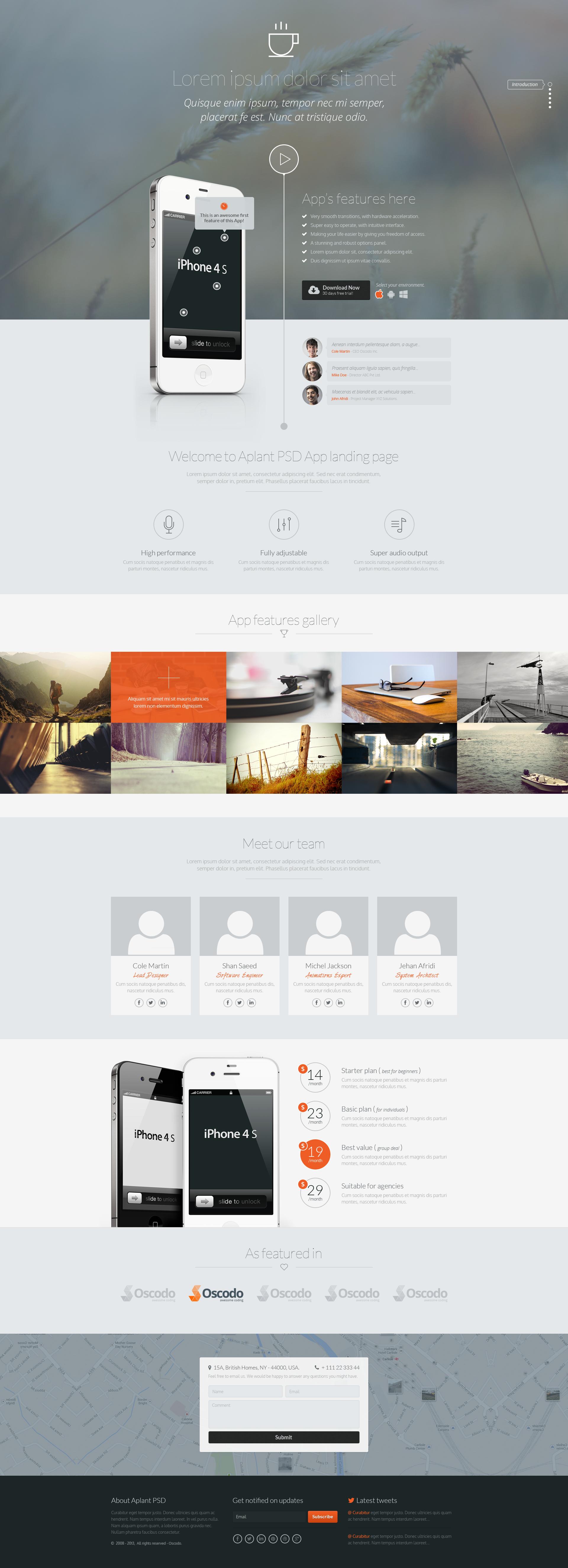 Aplant - PSD App Landing Page