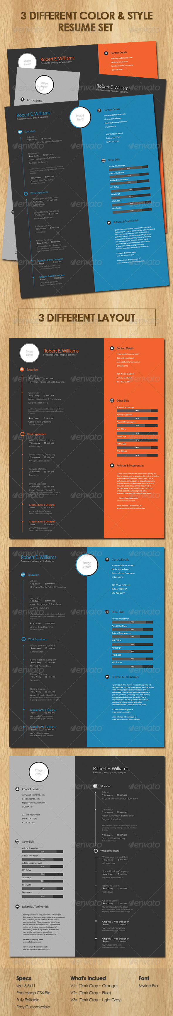 GraphicRiver 3 Different Color & Style Resume Set 6477680