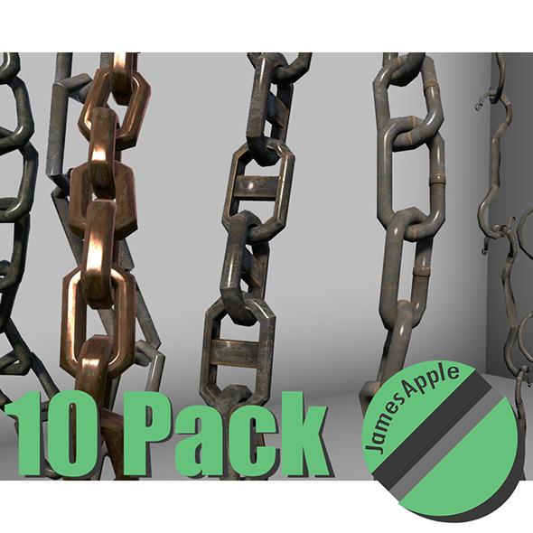 10 Pack Chains (Game Ready) - 3DOcean Item for Sale