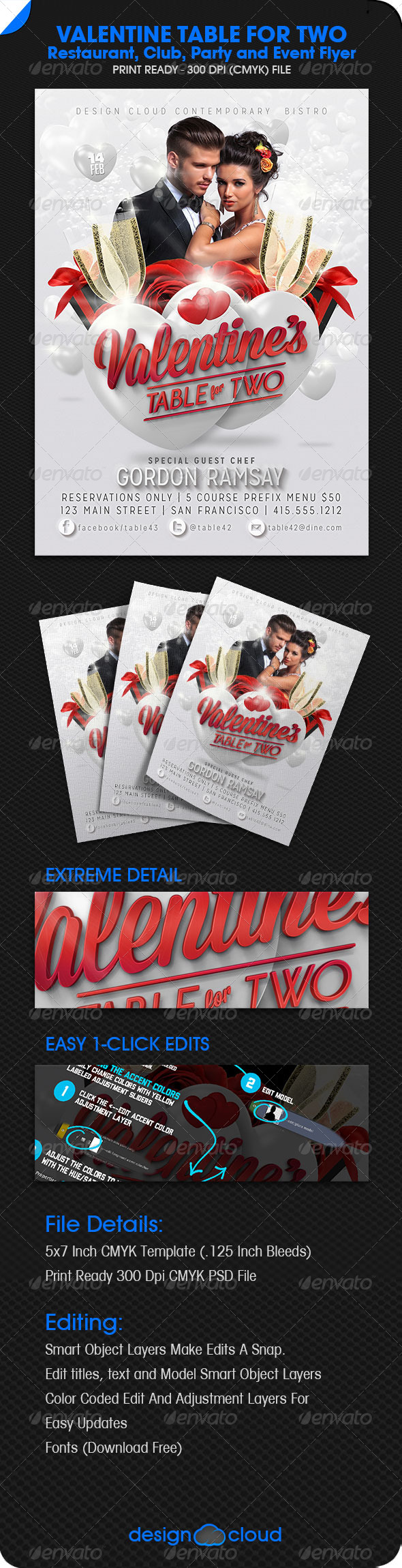 GraphicRiver Valentine Table for Two Party and Event Flyer 6503580